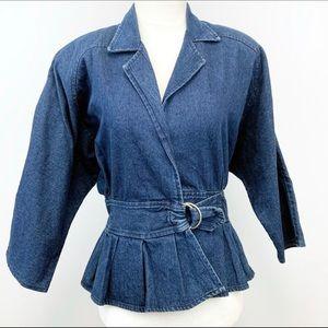 de1fa6a8e1d Soft Denim Dolman Sleeve Belted Peplum Jacket
